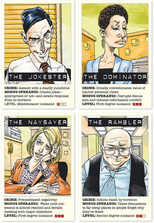 Cartoons of Meeting Killers: The Jokester, The Dominator, The Naysayer & The Rambler