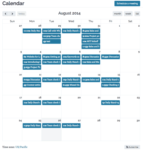 Screenshot of the new month view calendar