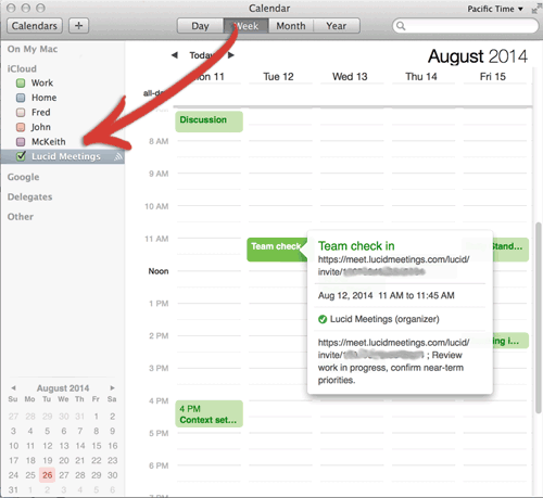 Lucid Meetings subscription as it appears in Apple Calendar
