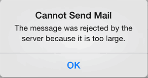 Screenshot of error: Cannot Send Mail. The message was rejected by the server because it is too large.