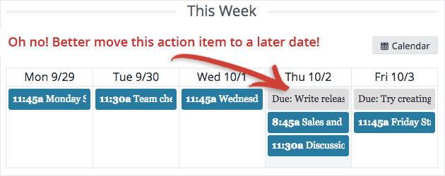 Screenshot: you can move action items on the calendar to change their due date