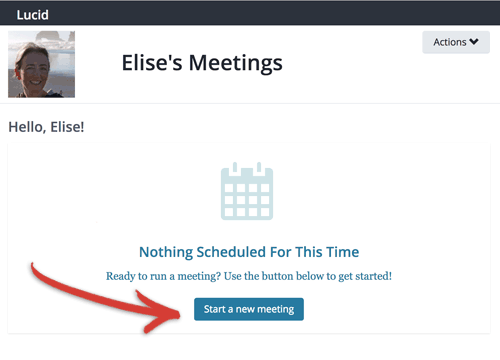 Screenshot: 1 click to start a new meeting from my personal meeting page