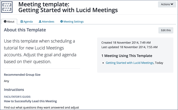 Screenshot of a meeting template showing info about the template that helps facilitators lead the meeting