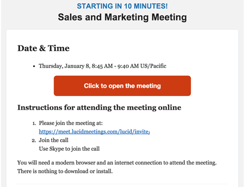 An example meeting reminder email.
