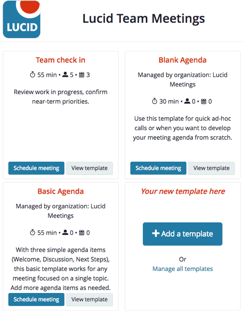 Screenshot: select a meeting template