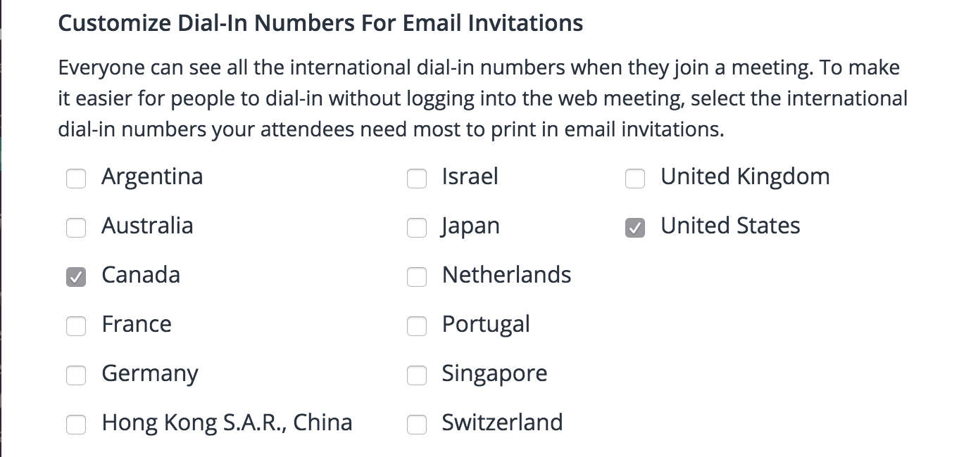 Screenshot of countries with toll calling numbers