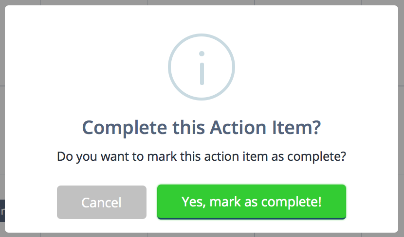 Mark action item as complete