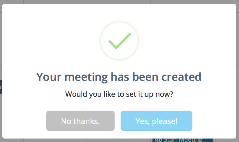 Meeting created confirmation