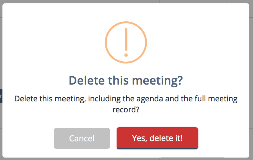 Confirm meeting delete