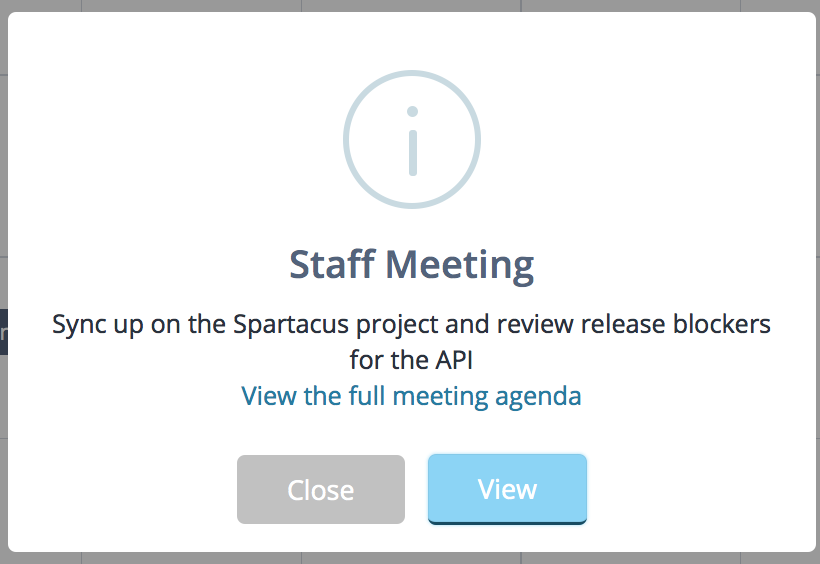 Quick view of a meeting on the calendar