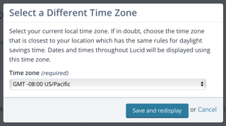 Timezone selection