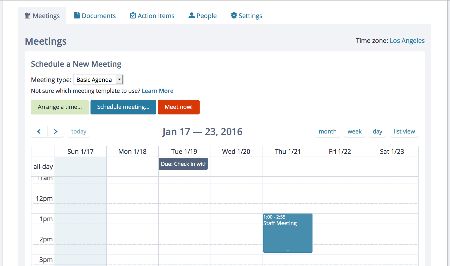 Week view of the calendar with action items and meetings
