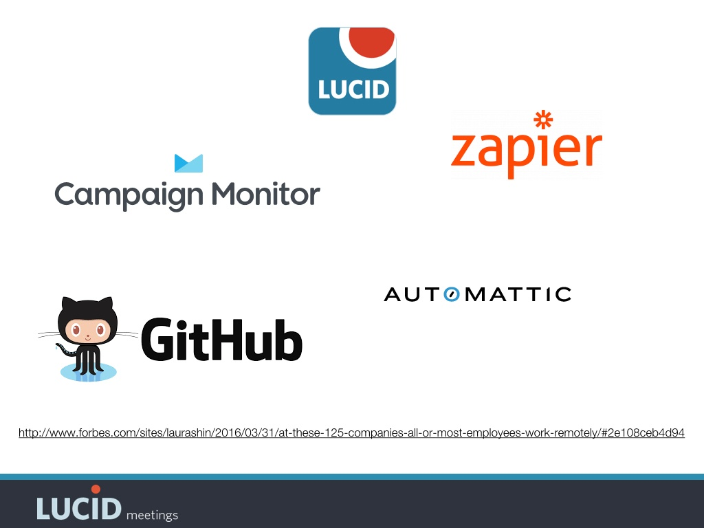 Zapier, GitHub, Automattic, Lucid, and Campaign Monitor all have successful remote teams