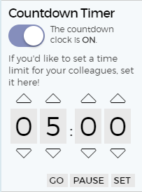 The countdown timer keeps brainstorming sessions on track.