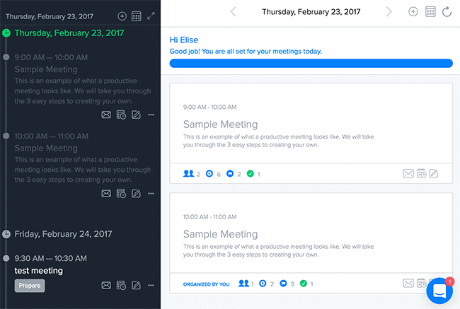 Screenshot: meetings in Do