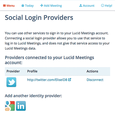 Screenshot: use your Google, Twitter or LinkedIn account to sign in