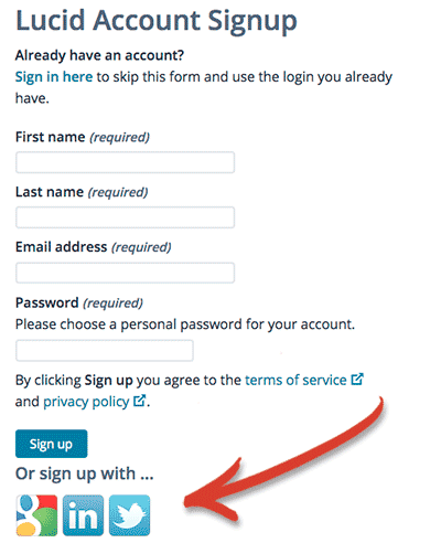 Screenshot: use your Google, Twitter or LinkedIn account to sign up