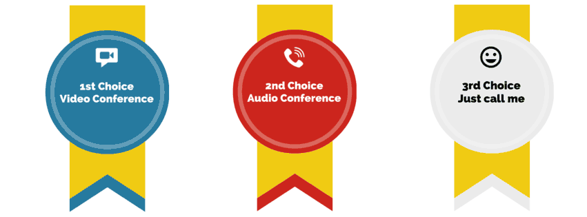 1st choice: video conferencing, 2nd choice: audio conferencing, 3rd choice: just call me