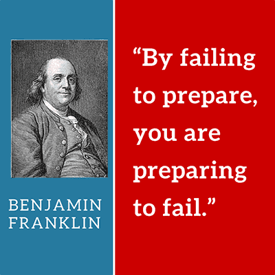 By failing to prepare, you a preparing to fail. Quote by Benjamin Franklin