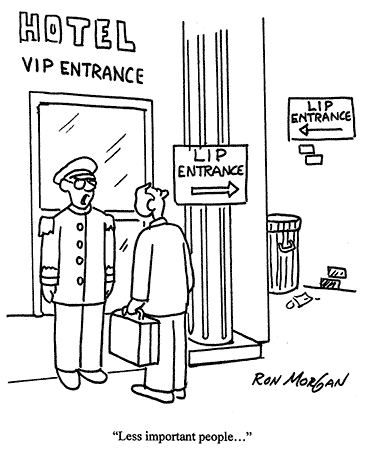 Cartoon - side entrance to the building for Less Important People