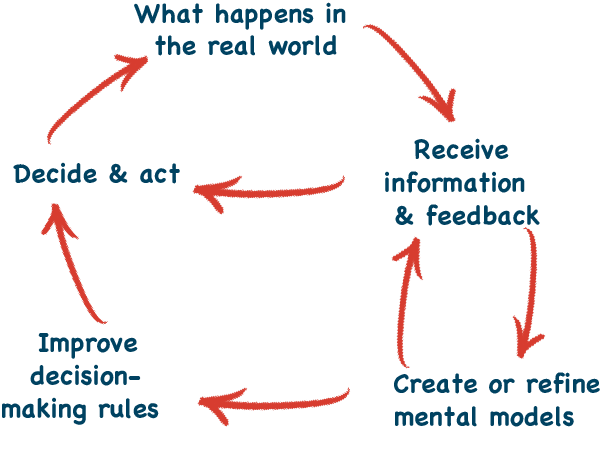 Decide - see real world results - get information - update mental models - update decision making rules - decide again
