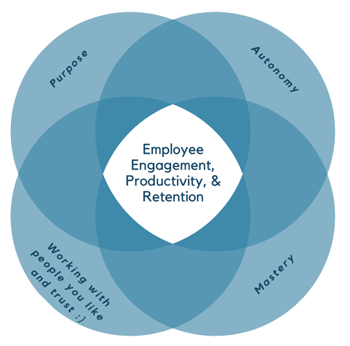 Employee engagement and productivity is centered in purpose, autonomy, mastery and the chance to work with people you like and trust
