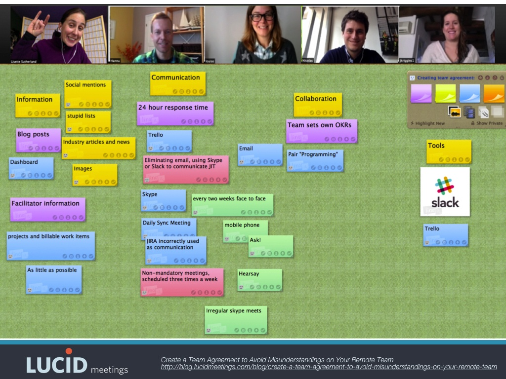 Screenshot of Lisette's team creating their working team agreement