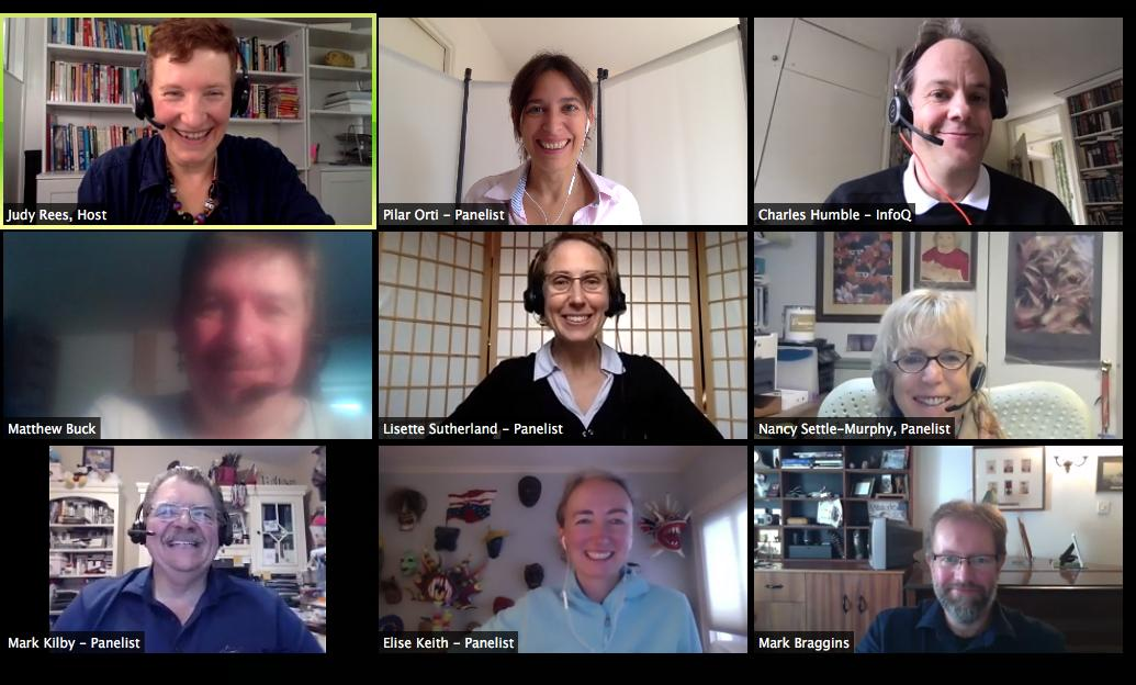 Screenshot of remote meeting experts panel, hosted by InfoQ, Judy Rees, Pilar Orti, Charle Humble, Lisette Sutherland, Nancy Settle-Murphy, Mark Kilby, Elise Keith, Mark Braggins