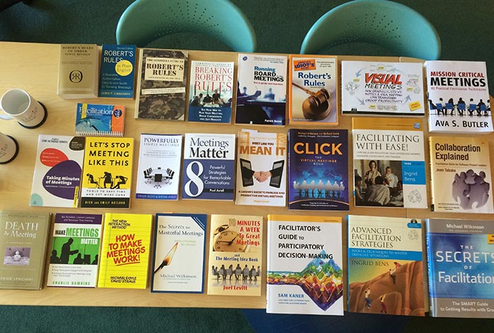 A picture of some of our meeting books on the conference table. For fun.