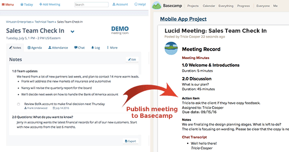 Screenshot: Publish your meetings to Basecamp
