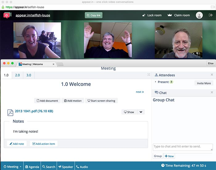 A screenshot from a remote team meeting