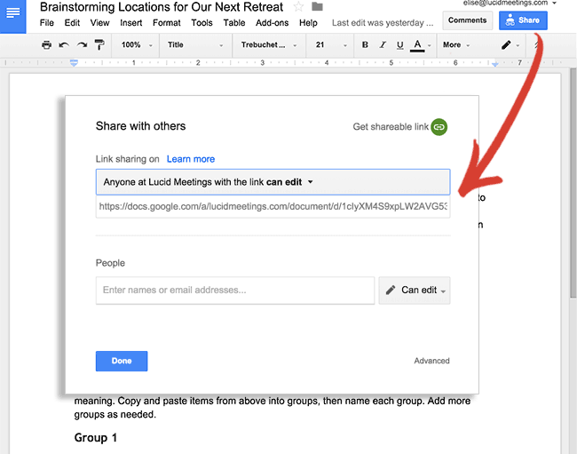 Screenshot showing how to find the share button in the google docs menu