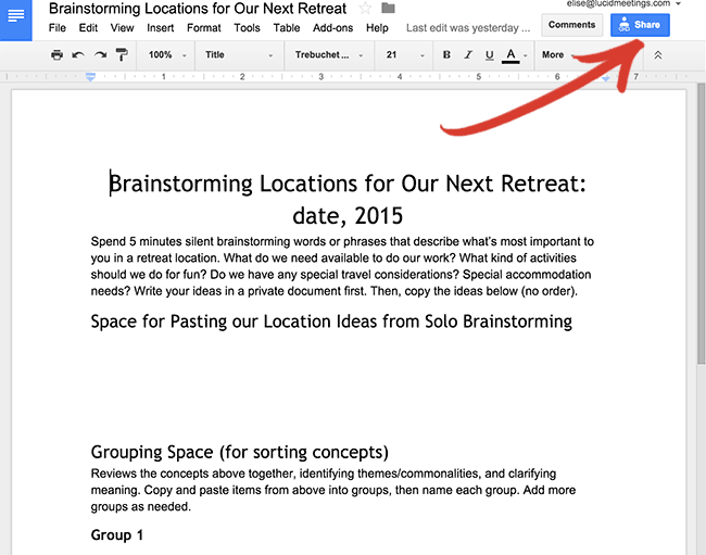 Screenshot of our test document in Google docs