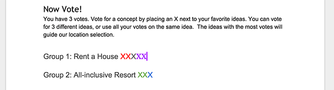 Screenshot of multi-colored x votes next to headings