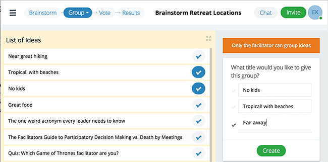 Screenshot showing how you can click multiple ideas, then give them a new group name before combining