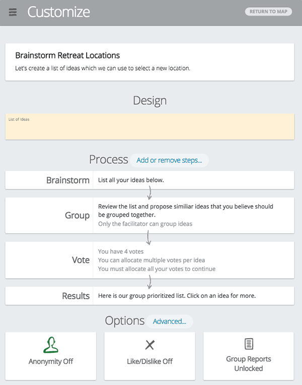 Screenshot of the config interface for a GroupMap.