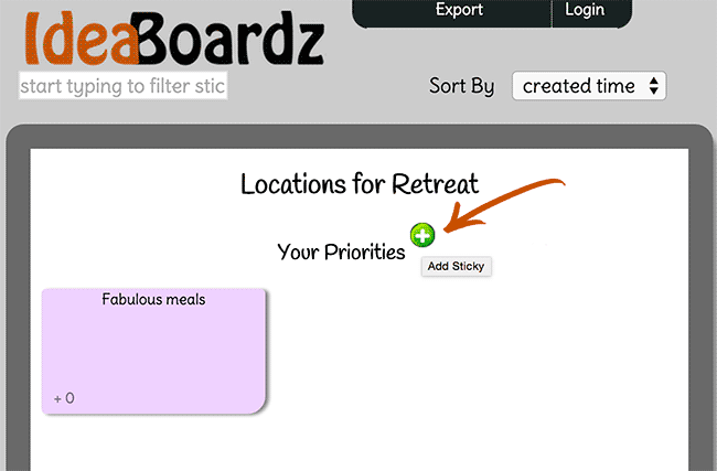 Screenshot of adding ideas by clicking the little green plus icon