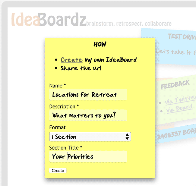 Screenshot of the IdeaBoardz form for creating a new board