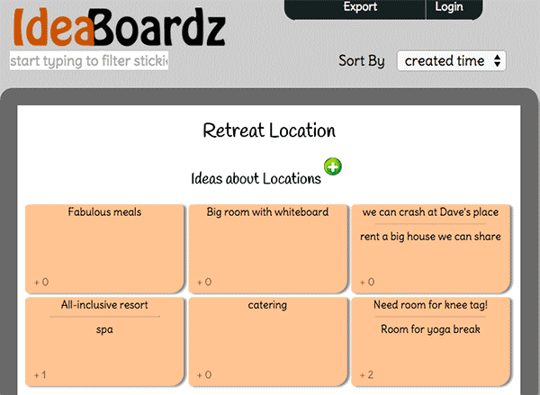 Screenshot of our test using IdeaBoardz