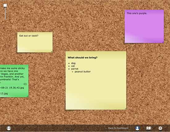 Screenshot of our NoteApp board