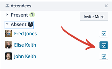 Click the checkbox next to a person's name to mark them present