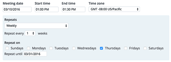 Screenshot showing the form for setting up a weekly repeating meeting