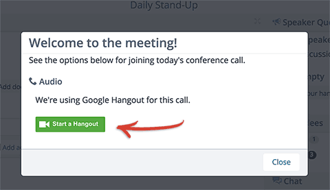 The start a Hangout button shown when you first join a Lucid meeting