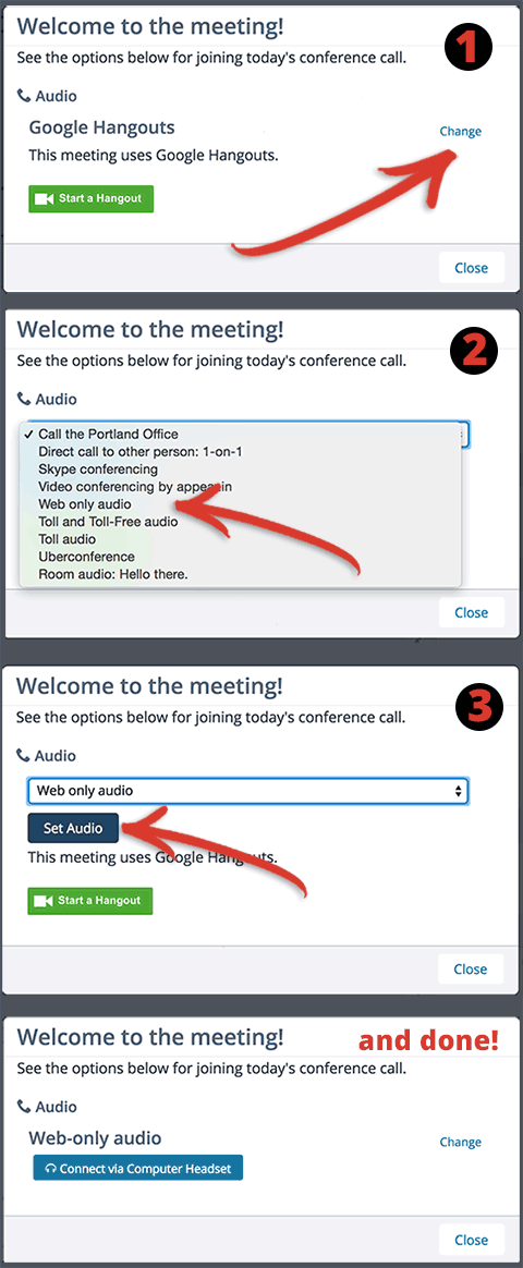Screenshot showing audio switcher in the meeting