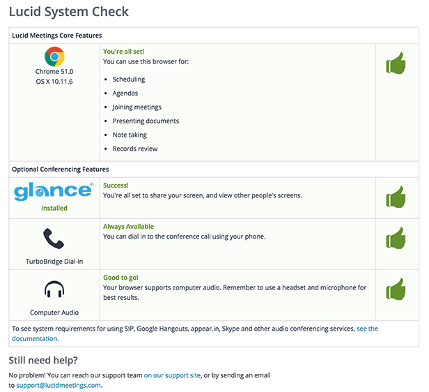 The systems check tests which Lucid meeting features your browser can use