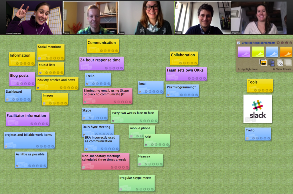 Screenshot of the team brainstorming