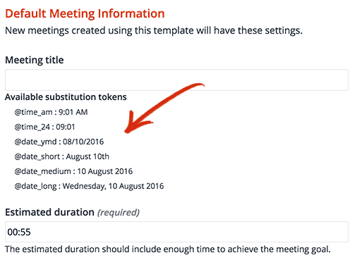 Add a date or time to meeting names dynamically